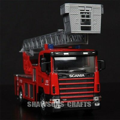 DIE CAST METAL 1/43 SCANIA FIRE ENGINE TRUCK MODEL PUMPER REPLICA