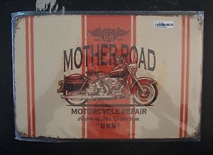 Tin-Sign-Route-66-Mother-Road-Motorcycle-Repair-with-Harley-20-x-30cm