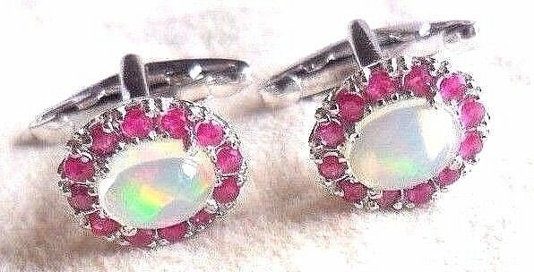 New 925 Sterling Silver Natural Opal & Ruby Exclusive Cufflink For ever Design