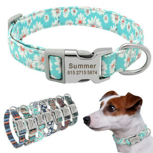 Nylon-Cotton-Personalized-Dog-Collar-Pet-Nameplate-Custom-Engrave-ID-Tag-Collars