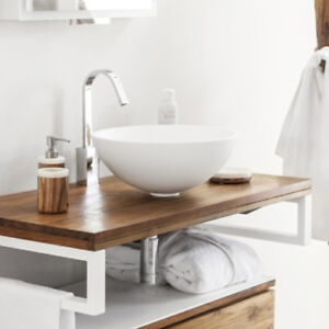 Lavabo bagno da appoggio in resina moderno lavandino sospeso a ciotola bianco ebay - Lavandino bagno sospeso ...