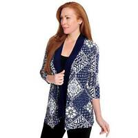 - Affinity For Knits 3/4 Sleeved Open Front Printed Cardigan - M