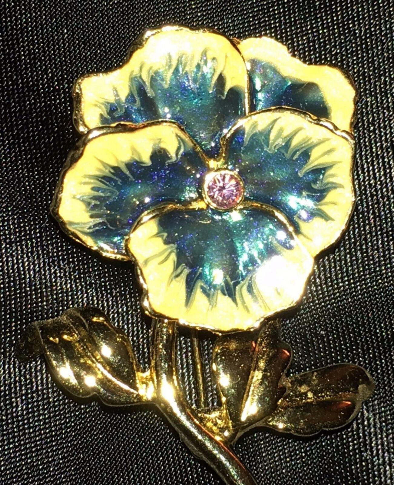 Vtg Pansy Brooch Enamel Flower Crystal Blue White… - image 2