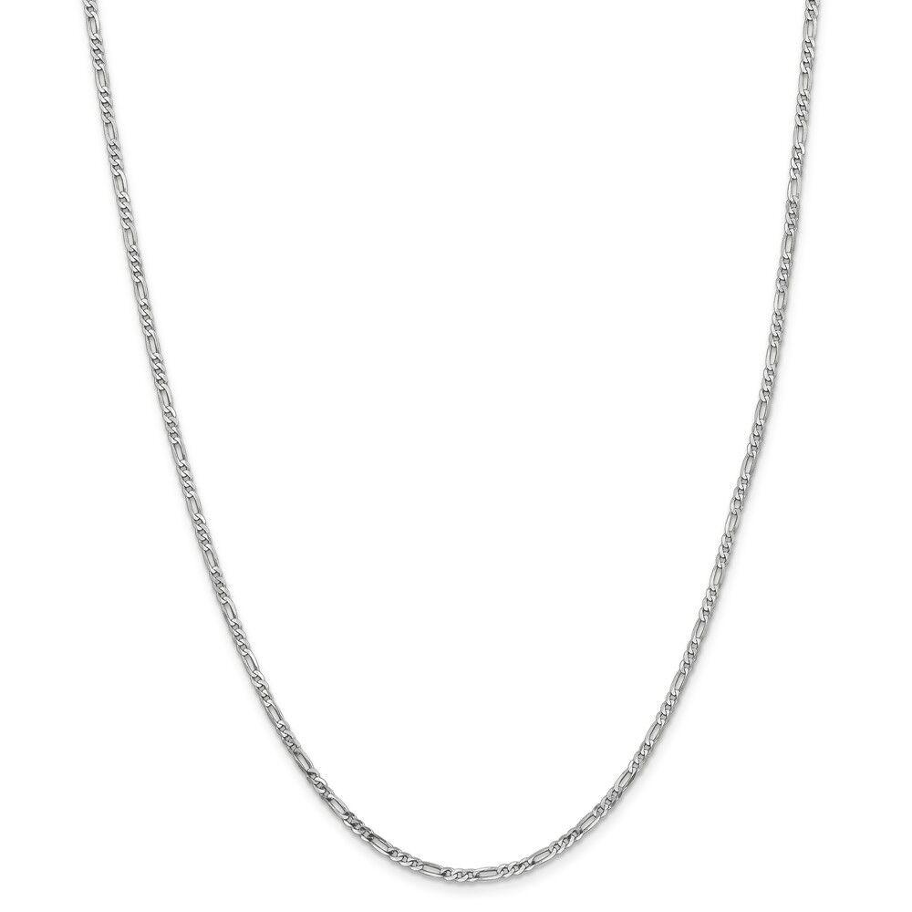 14kt White gold 2.25mm Flat Figaro Chain; 20 inch