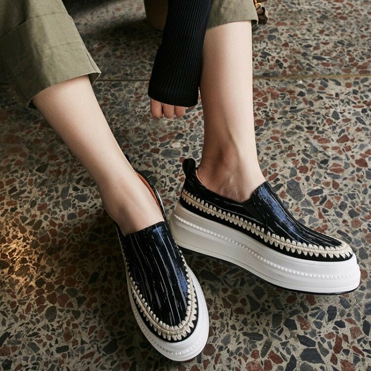 Retro Wouomo Suede Creeper Round Toe Casual Platform Thick Sole scarpe US 4.5-9
