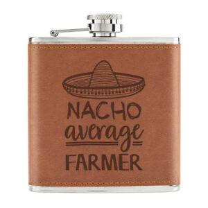 Nacho-Moyenne-Agriculteur-170ml-Cuir-PU-Hip-Flasque-Fauve-Worlds-Best-Drole