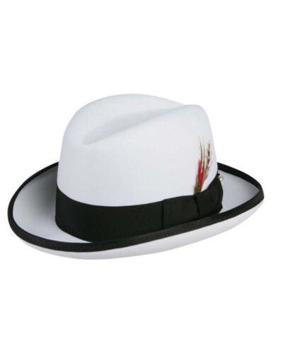 Godfather Homburg Fedora Hat in White with Black Band