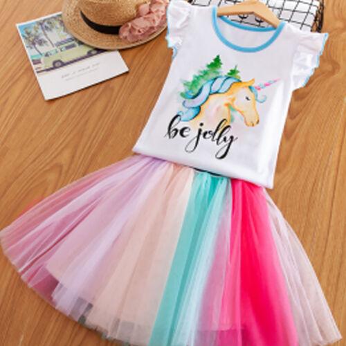 Skirt Outfit Set Kids Party  Tulle Tutu Dress Summer Girl Unicorn Tops T-shirt