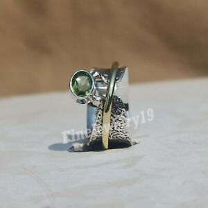 Peridot-Ring-925-Sterling-Silver-Spinner-Ring-Meditation-Statement-Jewelry-L3