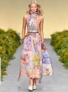 New-Zimmermann-RUNWAY-botanica-halter-gown-dress-book-print-midi-silk-0-6-8-XS-S