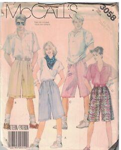 3058-Vintage-Mccalls-Patron-1980s-Misses-Hombre-Largo-Shorts-XS-sin-Cortar-Coser