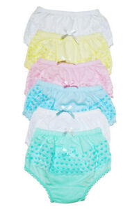 4-Girls-Ruffle-Panties-Kids-Toddler-Underwear-Cotton-Solid-Color-Size-12-3-4-5-6