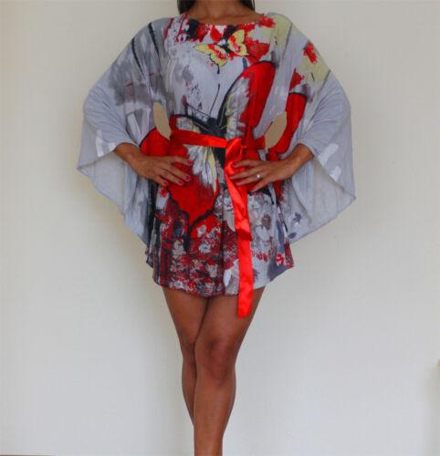 Aus DE Italy Vintage Chiffon Bluse Strandkleid Sommer Shirt Tunika 36 38 40 42