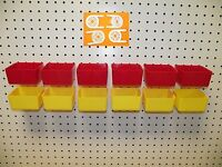 16 Pack 1/4 Hole Peg Board Workbench Bins (6) Red (6) Yellow (4) Tool Holders