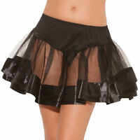 Mini Petticoat Black Women Satin Trim Crinoline Sheer Short Skirt Costume Dance