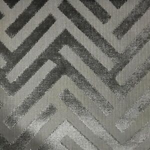 Details About Ministry Geometric Pattern Cut Velvet Upholstery Fabric By The Yard