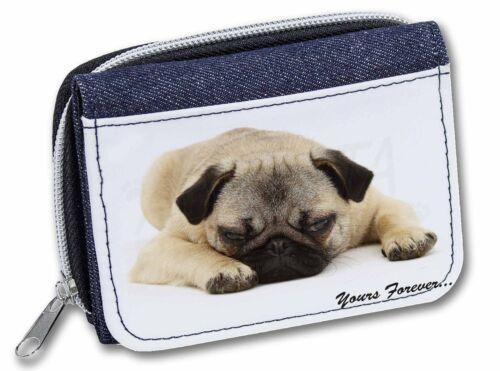 AD-P93JW Pug Dog /'Yours Forever/' Sentiment Girls//Ladies Denim Purse Wallet Chri
