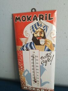(VTG) 1930s mokaril coffee celluloid on tin store advertising thermometer sign