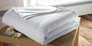 Single-100-Cotton-Cellular-Blanket-In-White-Washable-at-75c-Thermal-Disinfect