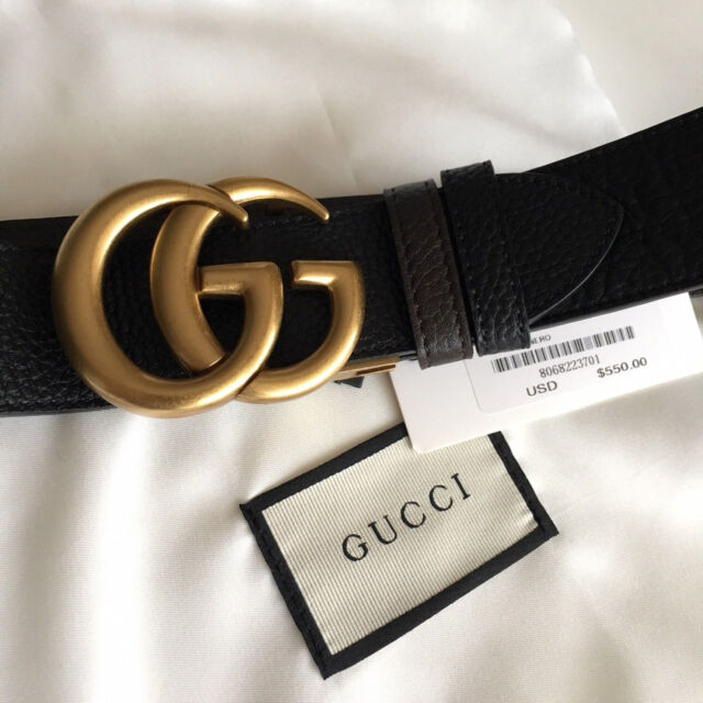 Auth Gucci Reversible Belt BLACK BROWN GG Gold Buckle size 90 / 36 fits  30,32