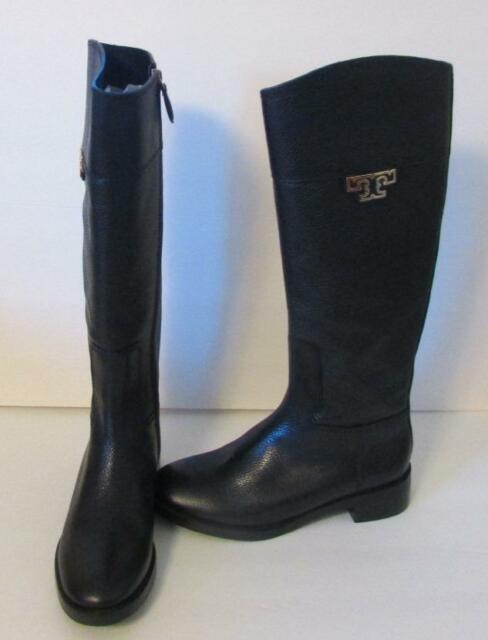 78340d7c9473 Tory Burch Joanna Coconut riding boot zipper leather 7.5 tumbled logo brown  gold
