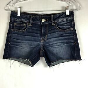 American-Eagle-Outfitters-AEO-Womens-4-Jean-Shorts-Super-Stretch-Frayed-Hem-B5-5