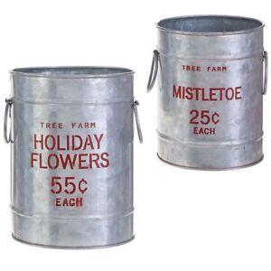 Raz-Imports-Tree-Farm-Holiday-Mistletoe-Christmas-Small-Buckets-Set-of-2