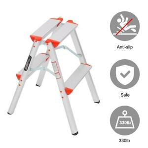 2 Step Ladder Foldable Step Stool Ladder Lightweight for Home Kitchen and Office
