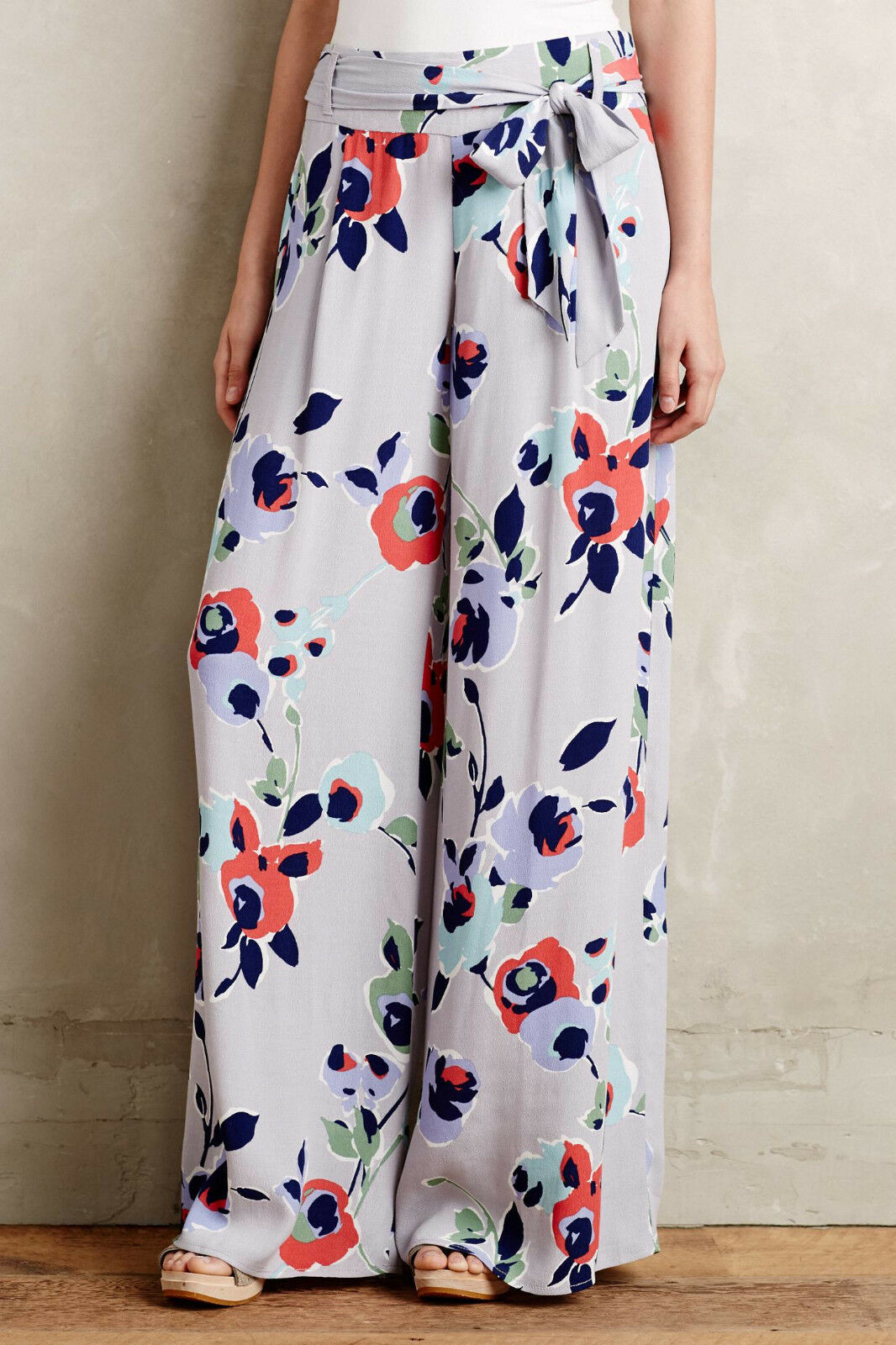 NEW ANTHROPOLOGIE  AMBROSIA FLORAL WIDE LEG PANTS BY ELEVENSES SZ 2