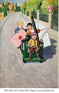 Illustratore-Bambini-Inchiostro-Pennino-Lettere-PC-Viaggiata-1933