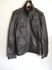 Superdry Ryan Jacket Leather Dull Army Vintage Medium MS5IY028F2 NWT/$475