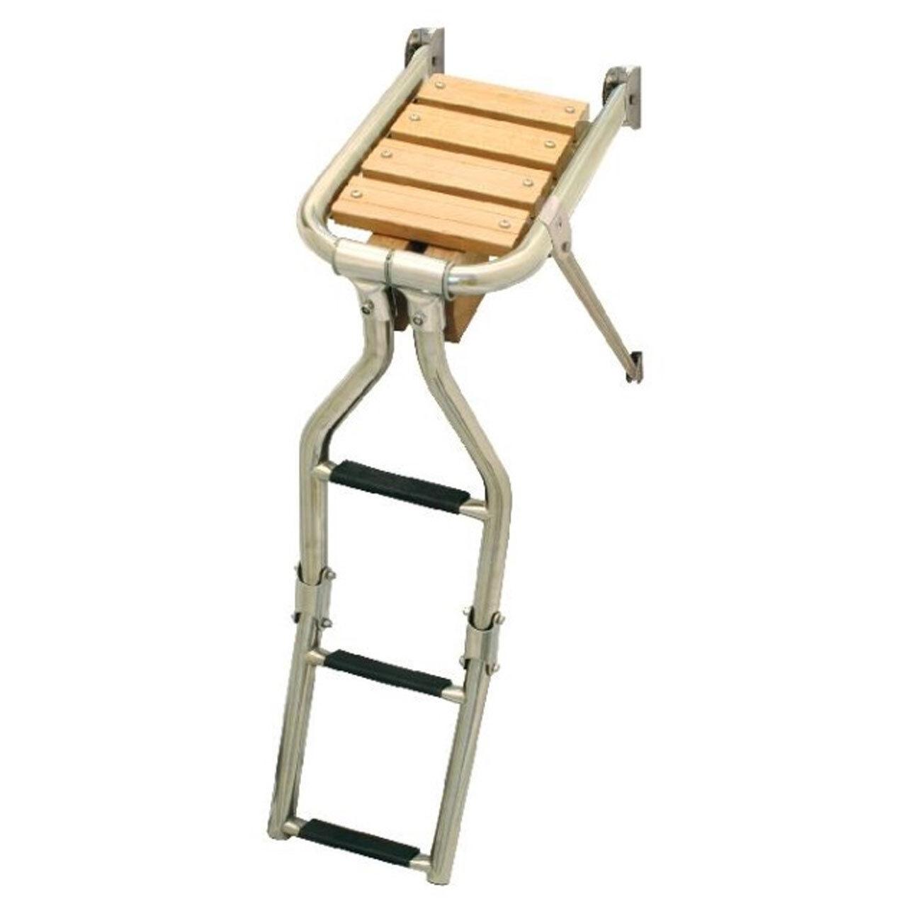 Lalizas/ Nuova Rade Stufen Teakholz Badeplattform mit Leiter klappbar 3 Stufen Rade cd8a23