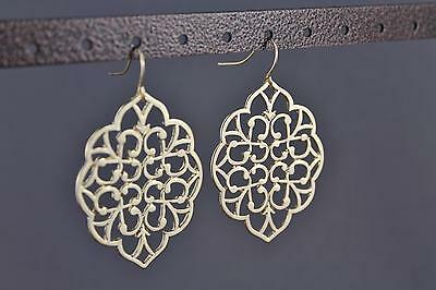 "gold tone cut out filigree scroll oval teardrop dangle earrings 2 1/8"" long"