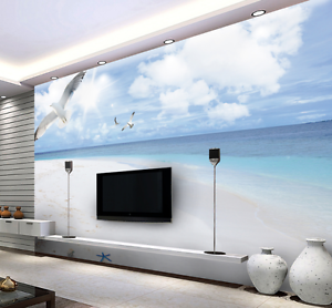 3D Beach Sea Bird Fly 547 Wall Paper Wall Print Decal Wall AJ WALLPAPER CA
