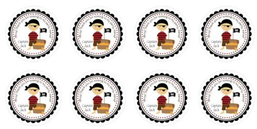 24 Personalised Stickers Round Pirate party bag sweet cone stickers