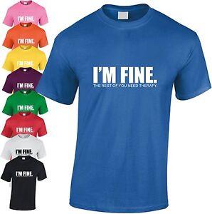 I-039-M-Fine-Vous-Need-Therapie-Drole-Enfants-T-Shirt-Insulte-Blague-Haut-Cadeau