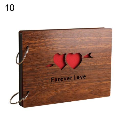 /_ 8 in cubierta de madera Libro Álbum de Fotos Negro Páginas aniversario Scrapbook Moderno Por ejemplo approx. 20.32 cm