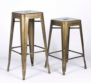 Amazing Details About Tolix Inspired Metal Bar Stool Brass Style Gold Industrial Breakfast Cafe Garden Creativecarmelina Interior Chair Design Creativecarmelinacom