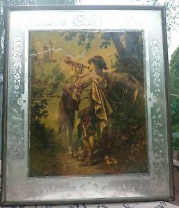 antik Jugendstil Glas Bild mit schönem geschliffenen Rand