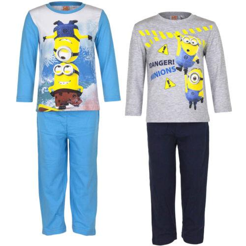 NEU Pyjama Set Schlafanzug Jungen Minions grau türkis schwarz 98 104 116 128 #89