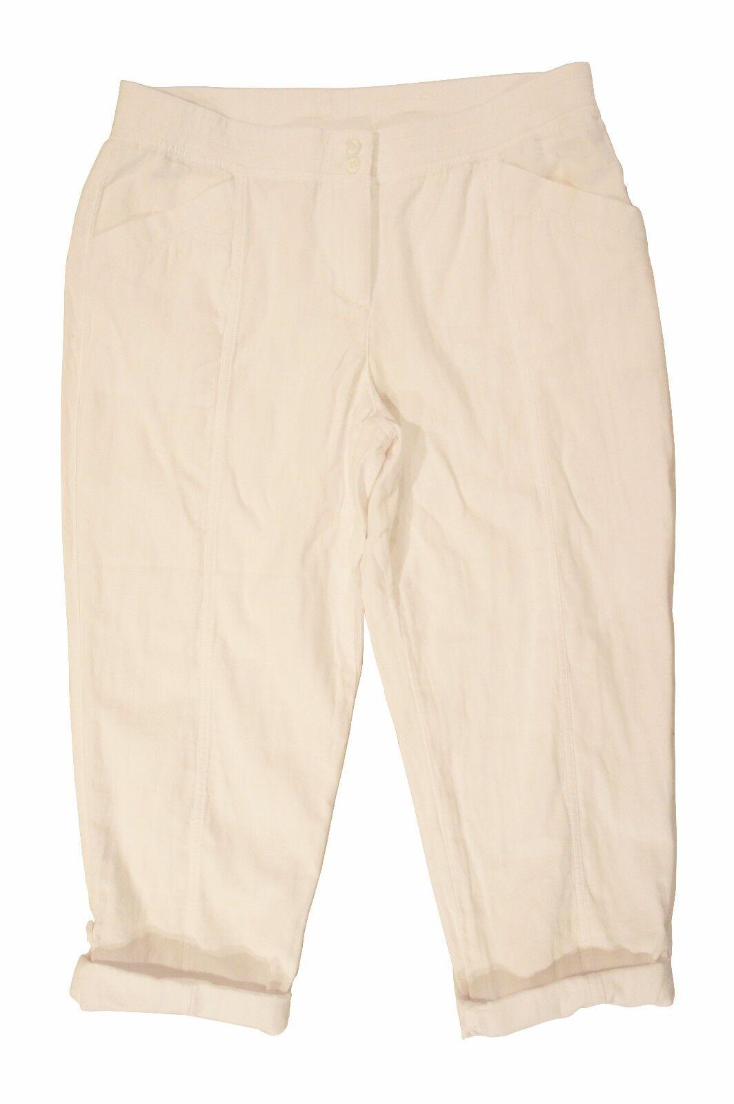 J. Jill Women's Lightweight White Cuffed Capri Pants Sz 12