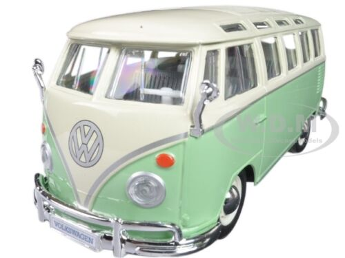 VOLKSWAGEN SAMBA BUS VAN GREEN 1:25 DIECAST MODEL CAR BY MAISTO 31956