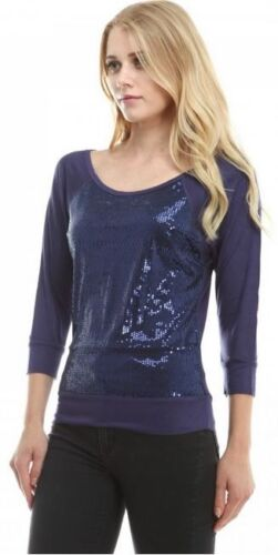 Sequined Dazzling Front Scoopneck Casual Loose Fit Casual Jersey Tee Shirt Top