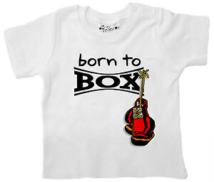 """Baby Boxing T-Shirt """"Born to Box"""" Boxing Glove Boy Girl Tee Clothes"""
