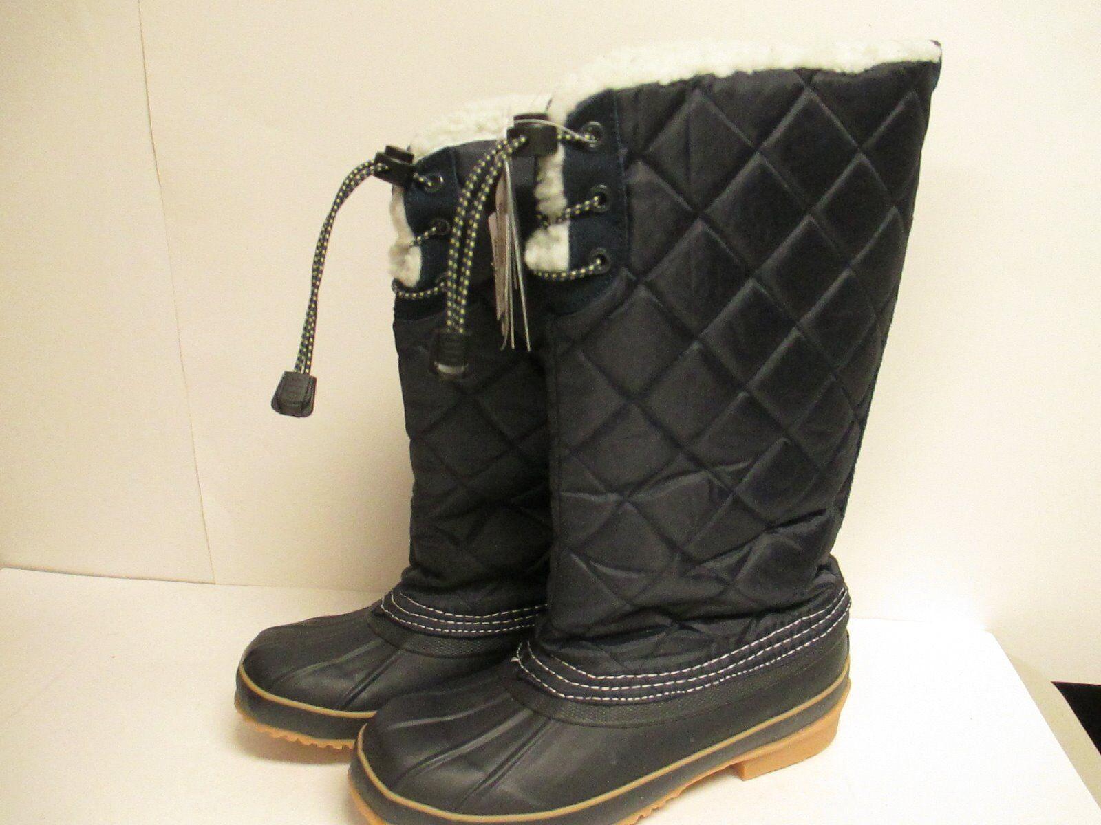 Khombu Womens Prep Bean Winter Boots Navy New with Box