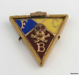 Vintage-Knights-of-Pythias-Fob-fraternal-Member-Collectible-FCB-Bible-Skull