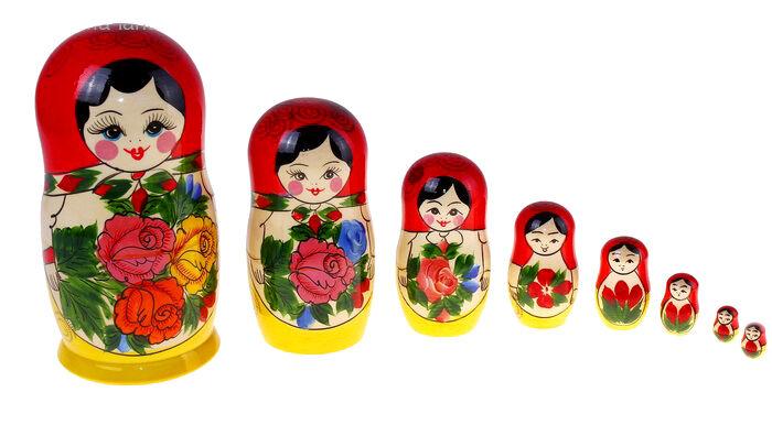 Poupée Russe Traditionnelle 8 pièces - Poupée Matriochka russe SEMENOVO