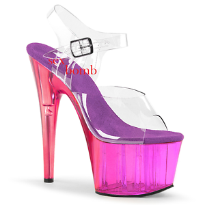 Scarpe Club Tacco Al Plateau Dal trasparente Viola Sexy 42 Glamour 18 35 Sandali RBpPqvp