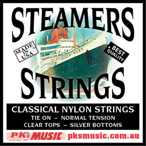 Steamers-Classical-Guitar-Strings-Tie-On-Clear-amp-Silver-USA-Made-FREE-POSTAGE
