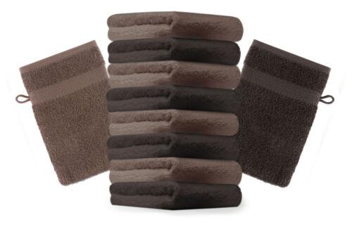 Betz 10 Stück Waschhandschuhe Waschlappen PREMIUM 16x21cm dunkelbraun/&nussbraun